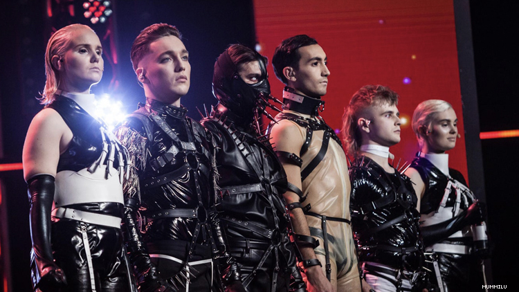 Iceland band Hatari with backup performers on stage in 2019