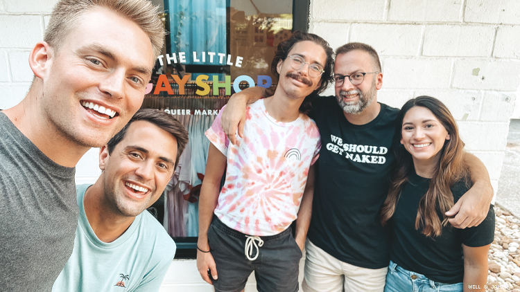 Will & James in front of Austin's Little Gay Shop