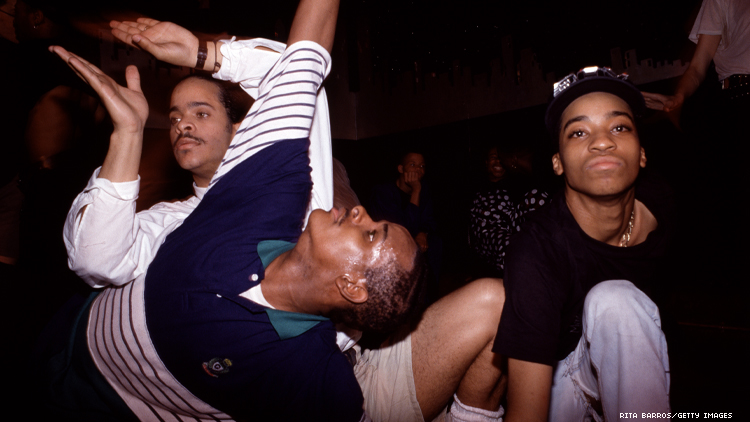 Cesar Valentino voguing with two other black men in 1989