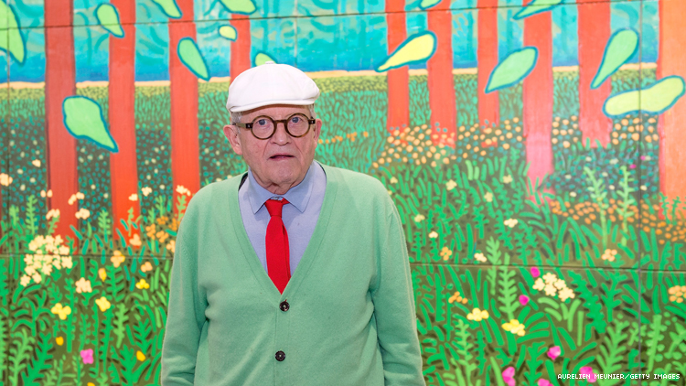 Artist David Hockney with his 2011 work Arrival of Spring