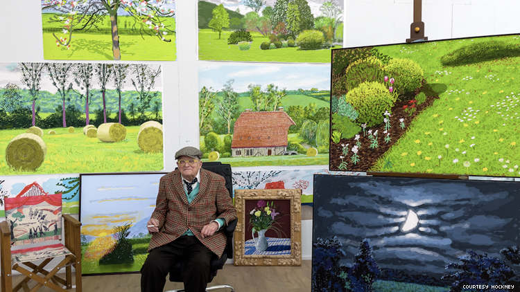 David Hockney with Art from his 2021 gallery show