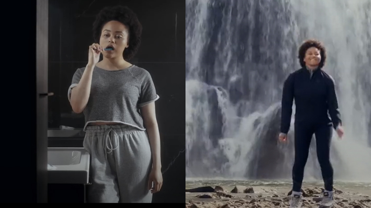 before and after images from sweatpant boots ad from Iceland