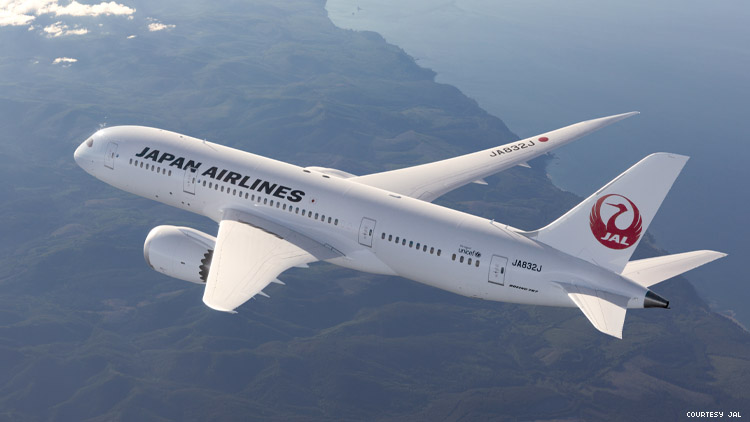 Image of a Japan Airlines jet from above