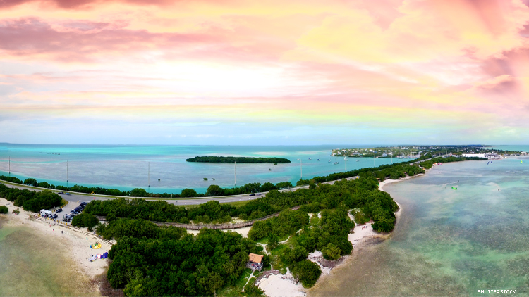 The highway leading to Florida Keys from above