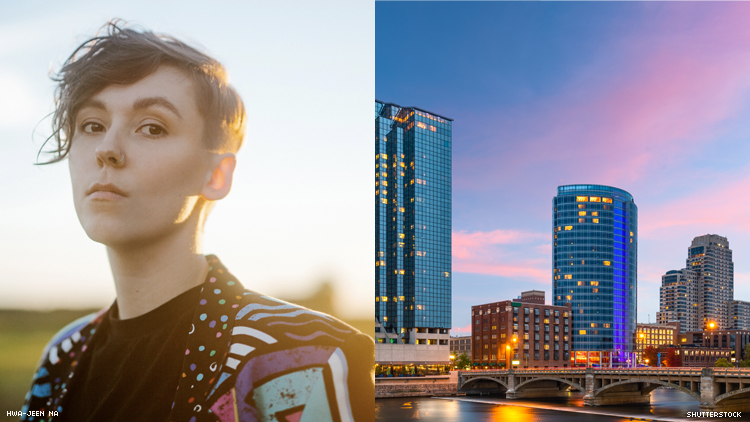 Lipstick Jodi' singer Karli Morehouse and Grand Rapids skyline