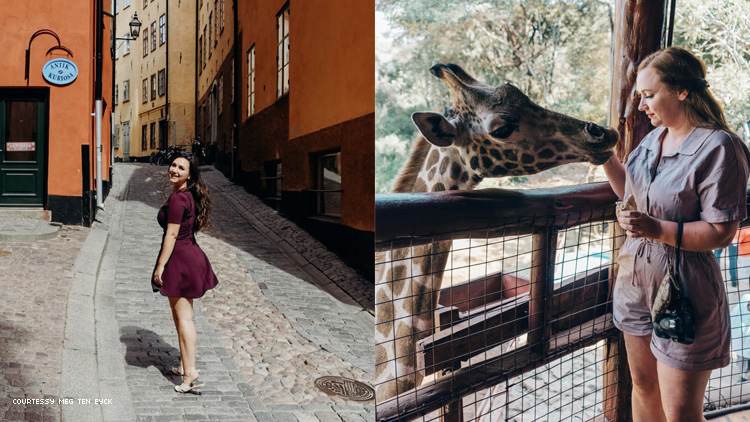 Two images of travel writer Meg Ten Eyck