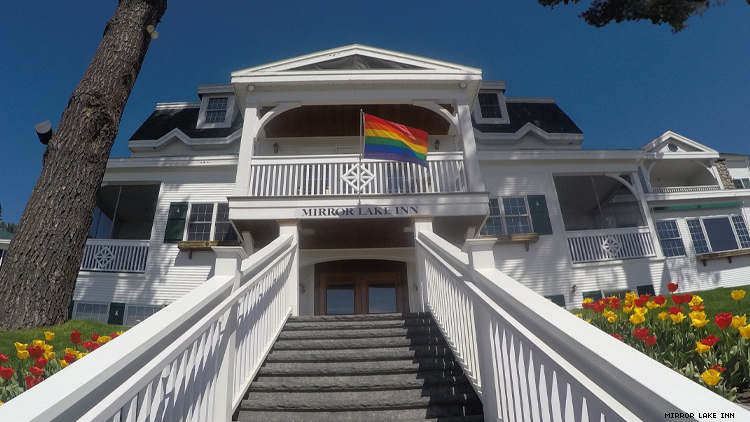 Mirror Lake Inn with Rainbow flag flying