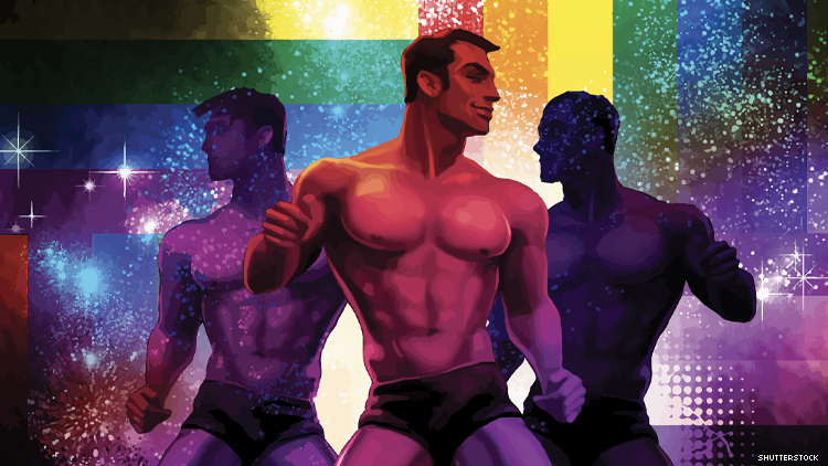 Art of three men without shirts dancing in disco with rainbow flags
