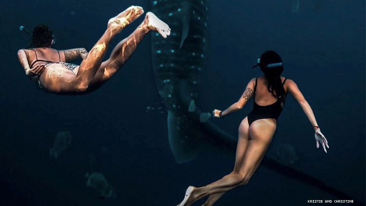 Lesbian couple swim next to whale shark in Philippines