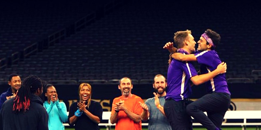 Will and James embrace after winning Amazing Race