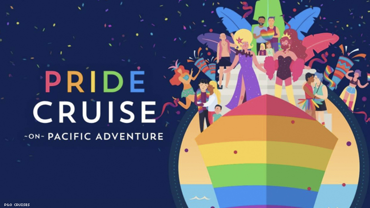 P&O Cruise ship vector image with diverse group of LGBTQ+ people on it