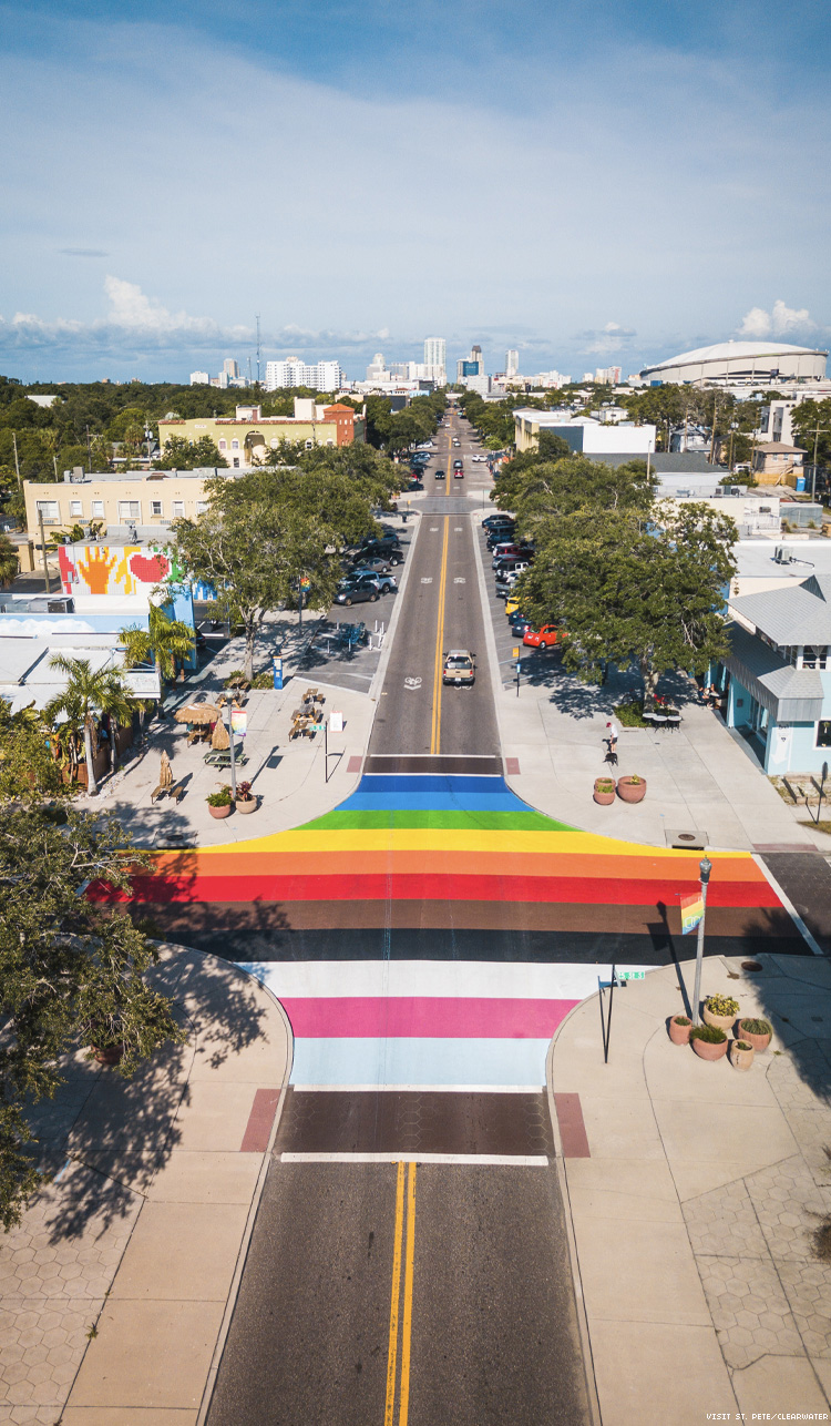 St Pete Pride Street Mural from above