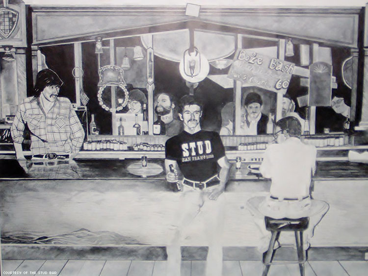 Black and white mural of The Stud gay bar