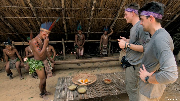 Will and James of Amazing Race Cooking With an Indigenous Amazon Tribe