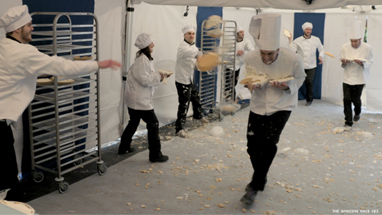 Will and James run a pie gauntlet on The Amazing Race 32