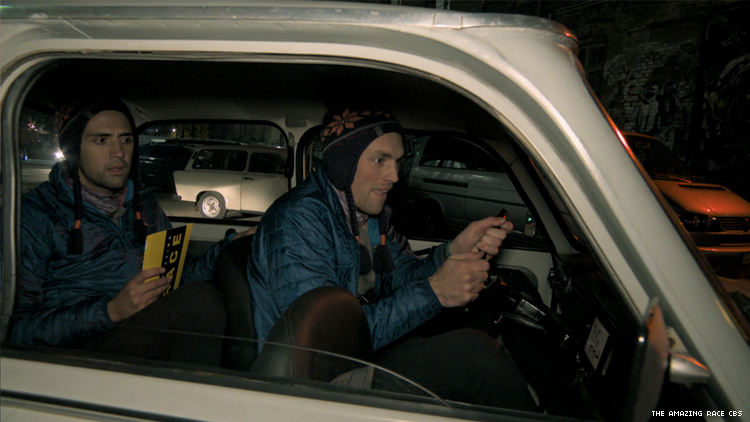 Will and James of 32nd The Amazing Race Driving a Trabi in Berlin