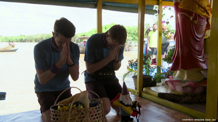 Will and James of 32nd The Amazing Race at a shrine in Cambodia