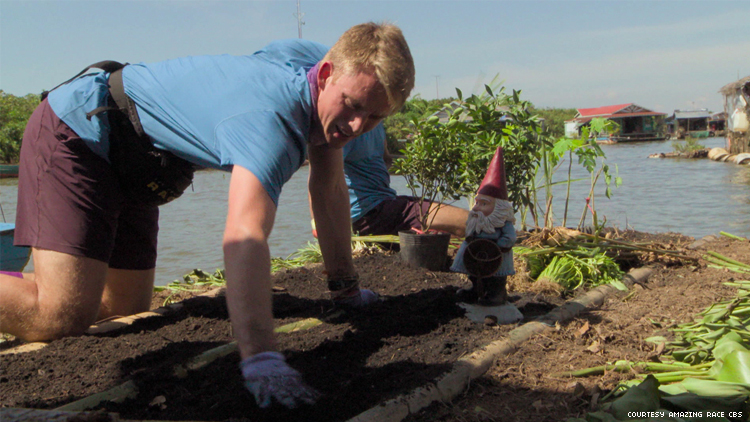 Will of 32nd The Amazing Race gardening in Cambodia