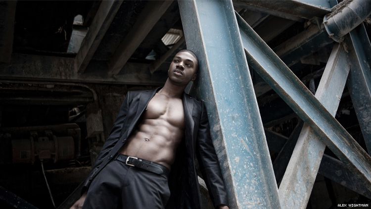 Black model Teraj next to steel beams