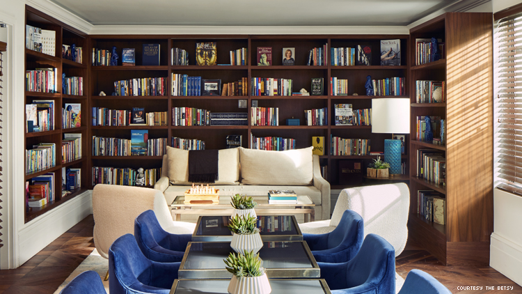 the library at The Betsy Hotel South Beach