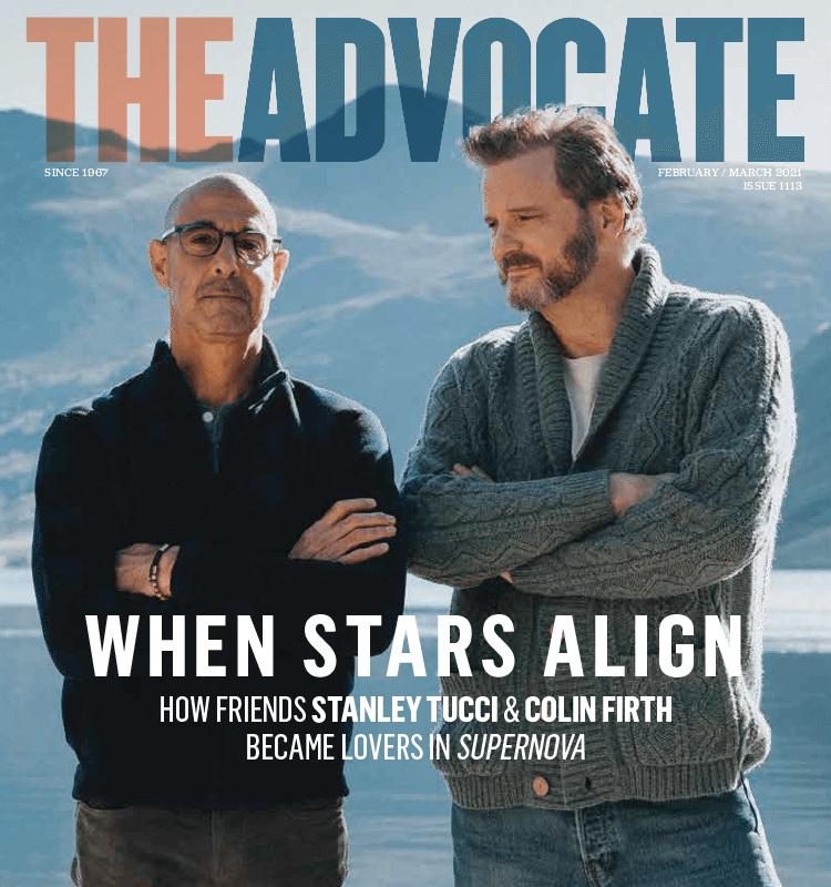 Cover of The Advocate featuring Stanley Tucci and Collin Firth