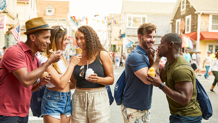 Group of LGBTQ people in provincetown enjoying ice cream