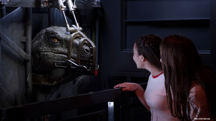 Up close with one of the life-size animatronic dinosaurs