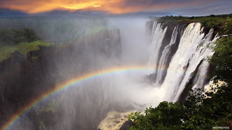 Victoria Falls at Sunset With Rainbow