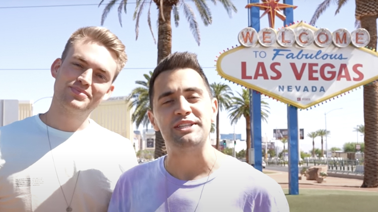Will Jardell and James Wallington in front of fabulous Las Vegas sign