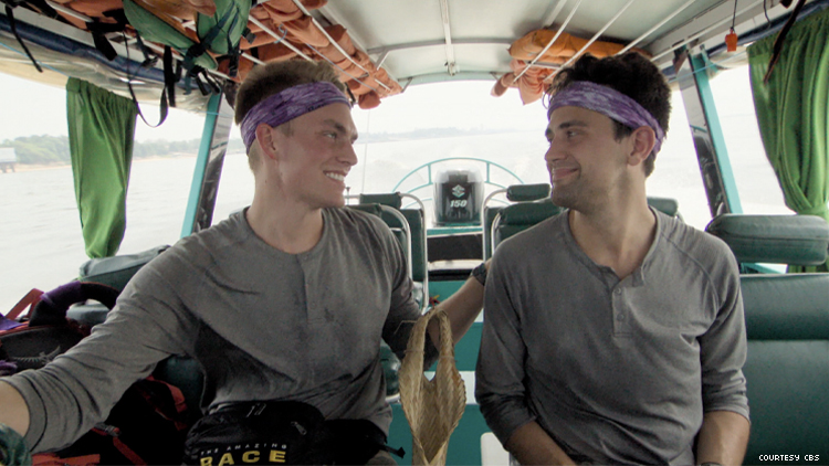 Amazing Race 32 competitors Will and James on boat