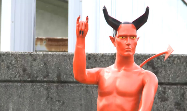 Vancouver's Devil-With-an-Erection Statue Goes Down