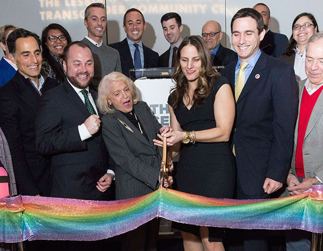 The Center Celebrates Re-launch with Ceremonial Rainbow Ribbon and LGBT Icon