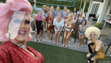 Back yard drag show by the drag queens delivering Roly China Fusion