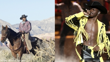 two photos Black cowboy and Lil Nas X