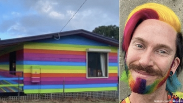 Mykey O Hlloran and his rainbow painted house in Australia