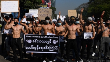 Fitness Trainers and gym members join Myanmar protests