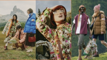 3 images from North Face x Gucci collaboration featuring BIPOC models