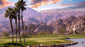 Palm Springs golf course at sunset