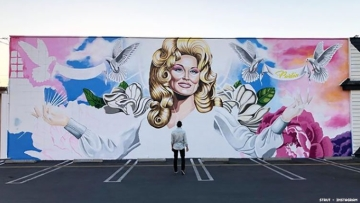 Mural of Dolly Parton on LGBTQ club