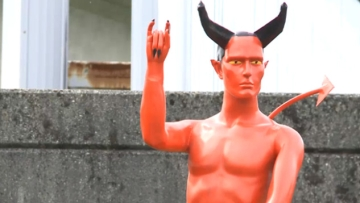 Vancouver's Devil With an Erection Statue Goes Down