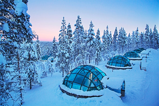 A row of glass igloos at Kakslauttanen