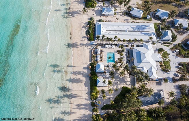A beachfront hotel on a Bahama island from above