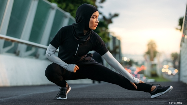 athletic woman in hijab