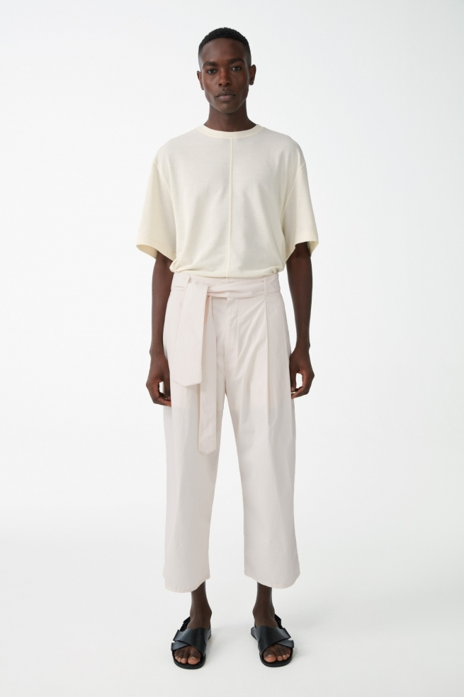 Cotton Belted Wide Leg Cropped Pants