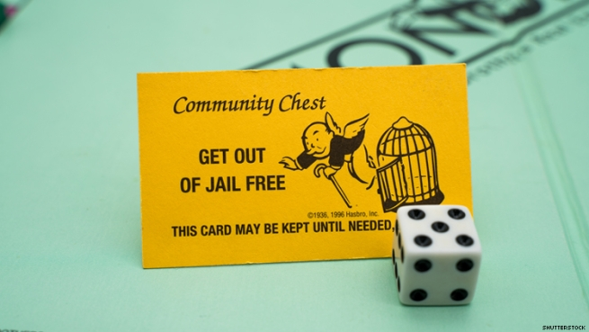 A get out of jail free card on a Monopoly board