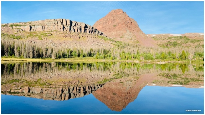 Flat Top Mountain is reflected in Grass Lake in the Henry's Fork Basin of the High Uintas Wilderness