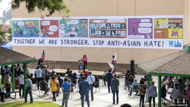 Photo of the reveal of MariNaomi Stop Anti-Asian Hate Mural