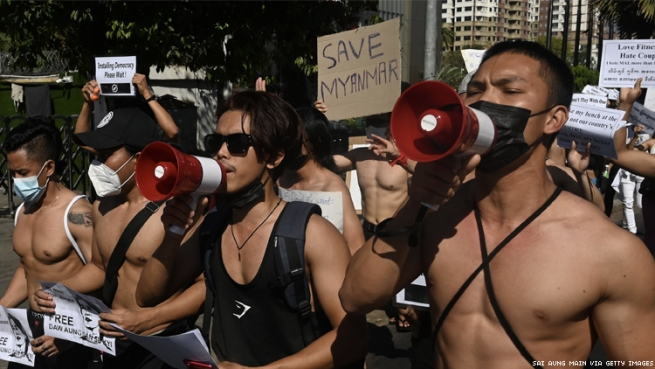 Fitness club members join protests in Myanmar