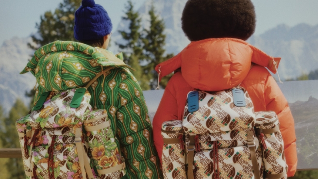 North Face x Gucci backpacks modeled by BIPOC models