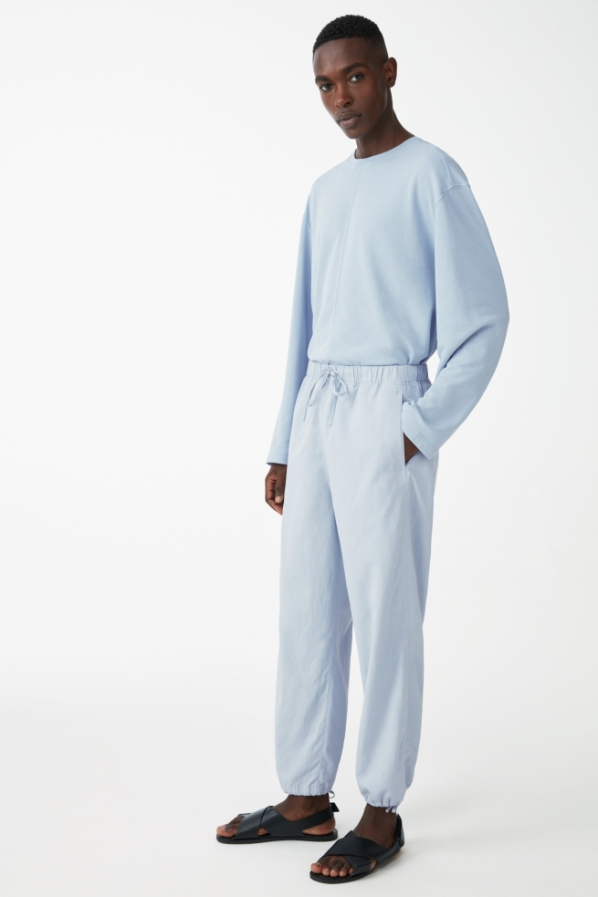 Light blue linen draw string pants